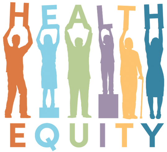 illustration of people holding letters spelling Health Equity